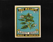 VINTAGE Match Matchbox Label DEEP RICH COLOR Melatti Plant Tobacco ? Sweden E1