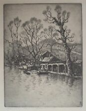BENSON BOND MOORE Washington D.C. Artist ETCHING of the C&O Canal in GEORGETOWN