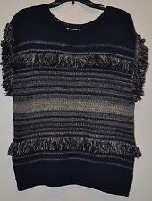 Dana Buchman Women's Blue Patchwork Indigo Fringed Sleeveless Sweater Sz L
