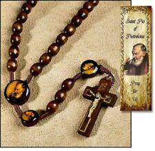 ST SAINT PADRE PIO Wood 18in ROSARY /PRAYER w/bk GIFT FRANCISCAN STIGMATIST
