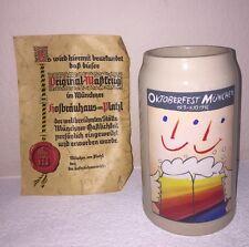 1992 Oktoberfest Munchen Munich Germany 1 Liter Beer Stein & Document- RASTAL