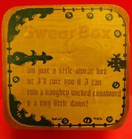 VINTAGE WOODEN COIN BANK SMALL SWEAR BOX FOR CUSS WORDS Oliver Whiting of London