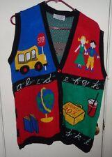 L Ladies Womens J Knits Cardigan Sweater Vest MultiColor Teacher School Alphabet