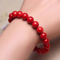 Natural 10MM Coral Red Bracelet Round Beaded Gemstone Stretch Bracelets 7.5''