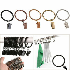 10pcs Iron Metal Window Curtain Rings Eyelets with Clips Rod Pole Hanging Hooks