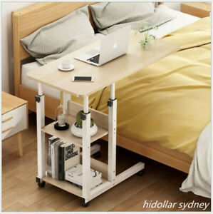 MOBILE OVERBED TROLLEY TABLE LAPTOP IPAD STUDY HOSPITAL HALL DESK 80X40cm 2 TIER