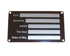 SERIAL NUMBER PLATE data identification ID vin tag ridged aluminum FREE SHIPPING