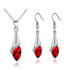 Elegant Silver Red Crystal Eye Jewellery Set Drop Earrings & Necklace S856