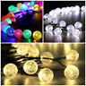 NEW 30x Coloured Crystal Globe Ball LED Garden String Lights Solar Party Outdoor