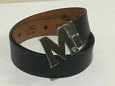 New MCM 'Visetos' Reversible Cognac/Black M Belt Size 40