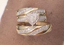 Shape Diamond Wedding Bridal Trio Ring Set 14K Yellow Gold Over His Her Heart