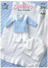 """COPY""  King Cole-3114  Baby/Child knit patt. Prem. / to 46 cm  3 items + Shawl"