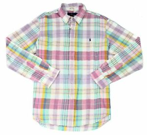 Polo Ralph Lauren Mens Casual Shirt Green Pink Size Medium M Plaid $110 #123