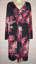 MARKS AND SPENCER PER UNA BLACK & RED FLORAL DRESS SIZE 14