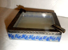 Opaline glass box , ash tray