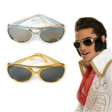 ELVIS SUNGLASSES ROCK N ROLL SHADES SILVER FANCY DRESS PARTY COSTUME ACCESSORY