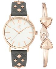 I.N.C. Women's Rose Gold Embossed Faux Leather Strap Studs 38mm Watch + Bracelet
