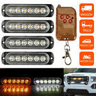 Amberwhite 6led Car Truck Emergency Hazard Flash Strobe Light Dash Warning Lamp
