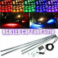 4x RGB LED 8Color Under Car Tube Strip Underglow Neon Light Wireless Remote 12V