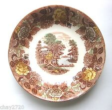 "VTG NASCO BROWN TRANSFERWARE ""MOUNTAIN WOODLAND PATTERN"" SOUP BOWL,Made in Japan"