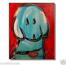 BLUE DOG  ORIGINAL OIL Painting  Stretched RUSSIAN IMPRESSIONIST EASERG