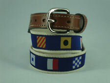 Mens Embroidered Leather Canvas Nautical Code Flags Ribbon Belt NWT select size