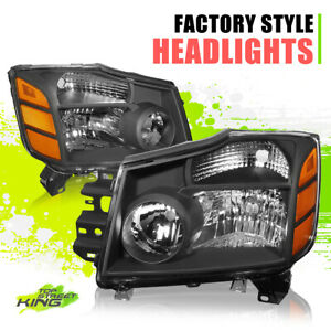 Factory Style Halogen Headlights for Nissan Titan Armada 04-15 Black Amber Pair