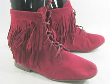 "Burgundy Half"" Heel Ankle Frill Front Lace Up Sexy Ankle Boot Size 6"
