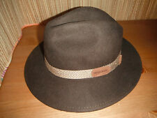 Mens WOOLRICH Wool Felt FEDORA OUTBACK Hat BROWN SMALL
