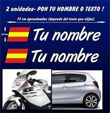 X2 PEGATINAS Bandera de España + Nombre - PERSONALIZABLE - MOTO Y COCHE - VINILO