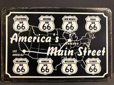 AMERICA'S MAIN STREET ROUTE 66 LARGE VINTAGE RETRO METAL GARAGE SIGN 40x30cm
