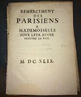 REMERCIEMENT DES PARISIENS À MADEMOISELLE. 1649.MAZARINADE.