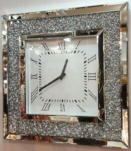 Large Gatsby Mirrored Glass Silver Crushed Diamond Crystal Wall Clock 51 x 51cm