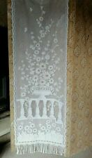 Vintage French Lace net Curtain Panel Floral Long window Glass Door 2m20Lx60cmsW