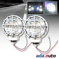 2 X 6 Built In Hid 4x4 Round Off Road Lamps Chrome Clear Fog Lights Withcover New