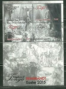 TONGA 1270 MNH SOUVENIR SHEET EASTER 2015 REMBRANDT PAINTINGS SCV 9.00