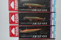 """3 lures yo zuri pins pin's minnow f196-m37  2"""" 1/16oz gold flame trout lure"""