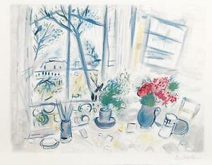 Marc Chagall, Fleurs du Parc, Lithograph, Facsimile Signed and Numbered in Penci