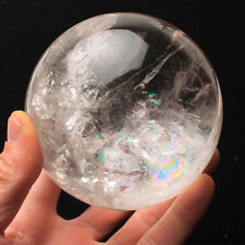 Natural Clear Quartz Crystal Rainbow Sphere Ball Healing Gemstone 25-35mm +Stand