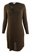 Michael Kors Women's Plus Size Metallic Asymmetrical V Neck Dress