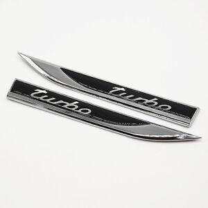 2Pcs Car Metal Turbo Logo Decoration Decal Emblem Badge Fender Sticker Dagger