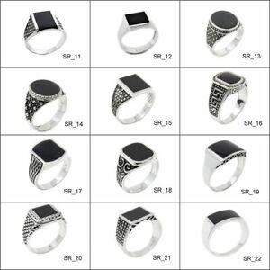 Siegelring Herrenring Echt 925 Silber Biker Ringe mit Stein 12 Ring Modelle
