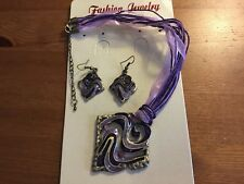 1 Square Purple Crystal & Enamel Necklace/Ribbon and Cord & Bronze Earring Set