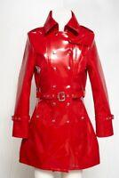 PVC Vinyl Red Women's Trench Coat All sizes