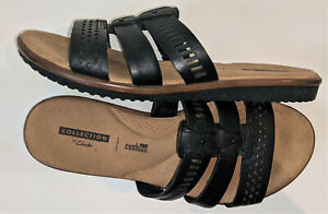 Collection by Clarks Women's black leather Kele Willow Slide Sandal size 8