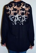 EUC Womens Plus Size 1X Black Lace Detail Back Open Front Asymmetrical Cardigan
