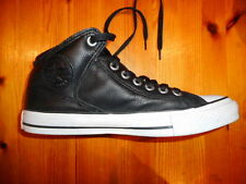 CONVERSE ALL STAR LEATHER BLACK MID TOP SHOES LADIES US 9 EXCELLENT CONDITION