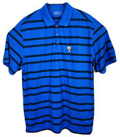NIKE Golf Short Sleeve Polo Shirt Presidents Cup Striped Mens Sz XL Blue EUC