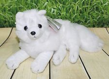 "Wild Republic ARCTIC FOX 8"" Plush Cuddlekins Lying Down White Stuffed Animal NEW"