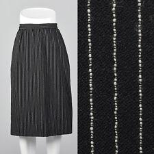 Medium 1980s Black Wool Skirt White Pinstripes Vintage Separates with Pockets